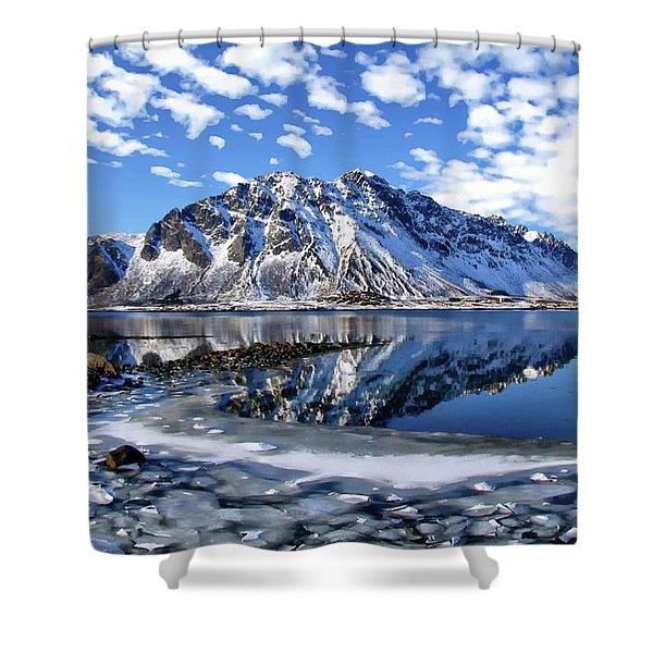 Lofoten Winter Scene Shower Curtain
