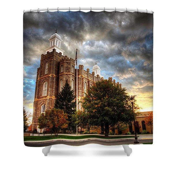 Logan Temple Cloud Backdrop Shower Curtain