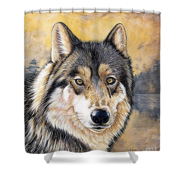 Shower Curtain featuring the painting Loki by Sandi Baker