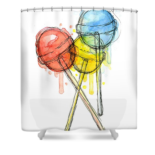 Lollipop Candy Watercolor Shower Curtain