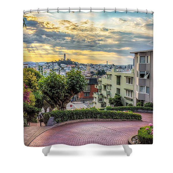 Lombard Street In San Francisco Shower Curtain