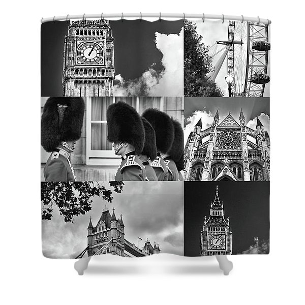 London Collage Bw Shower Curtain
