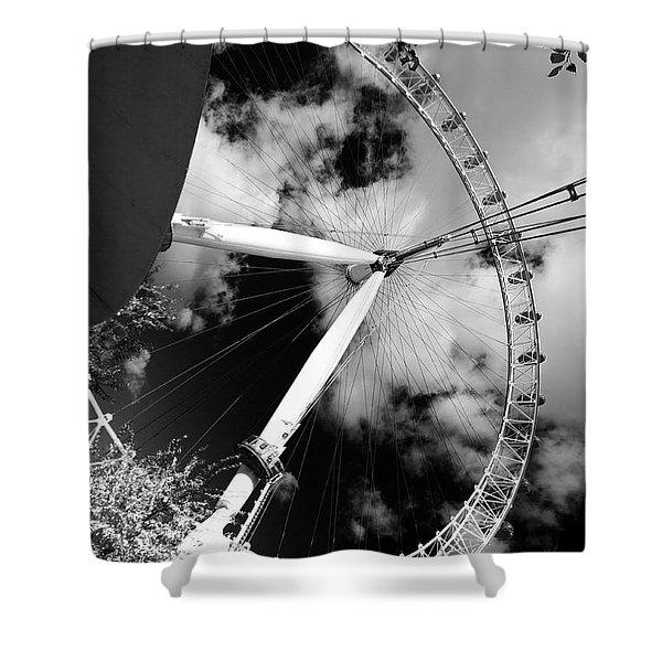 London Ferris Wheel Bw Shower Curtain