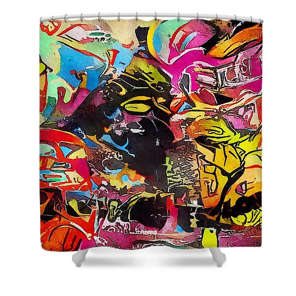 Shower Curtain featuring the painting London by Mark Taylor