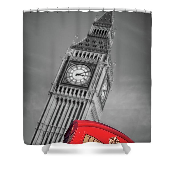 London Phone Booth And Big Ben Shower Curtain
