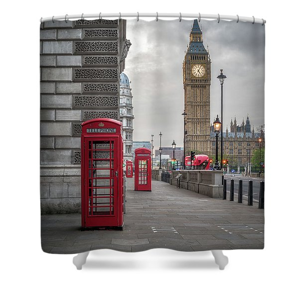 London Phone Booths And Big Ben Shower Curtain