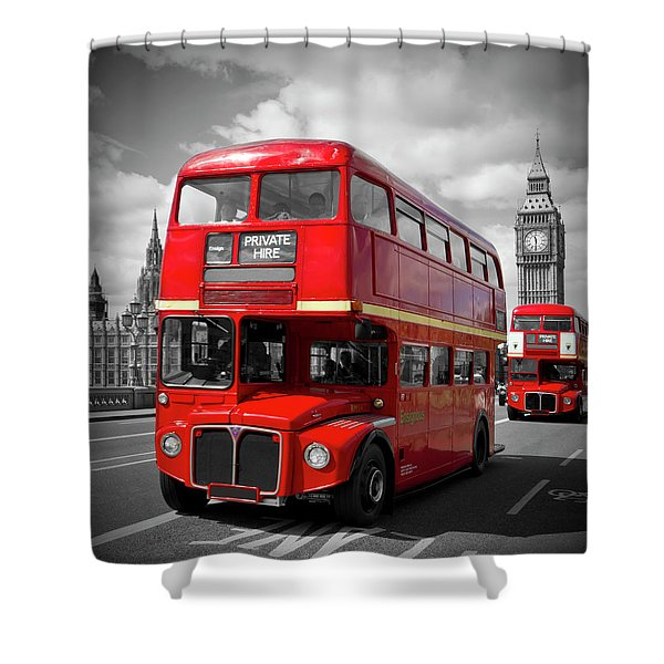 London Red Buses On Westminster Bridge Shower Curtain