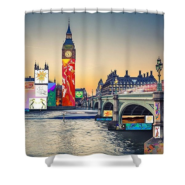 London Skyline Collage 3 Inc Big Ben, Westminster  Shower Curtain
