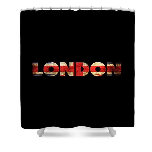 Shower Curtain featuring the drawing London Vintage British Flag Tee by Edward Fielding