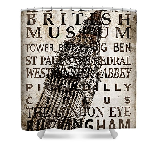 London Vintage Poster Sepia Shower Curtain