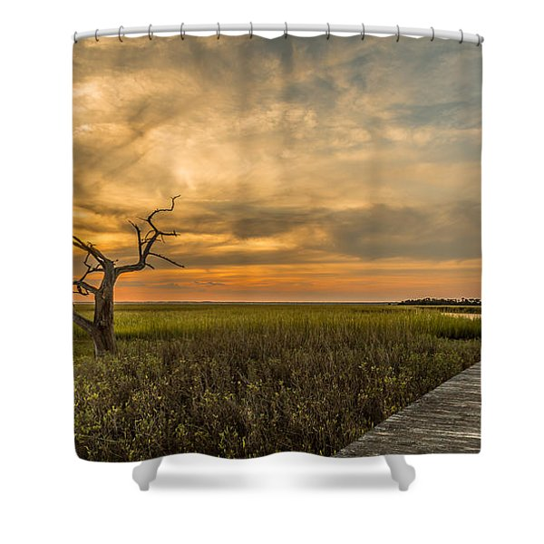 Lone Cedar Dock Sunset - Dewees Island Shower Curtain