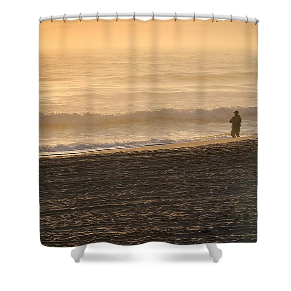 Lone Fisherman On A Misty Morning Shower Curtain