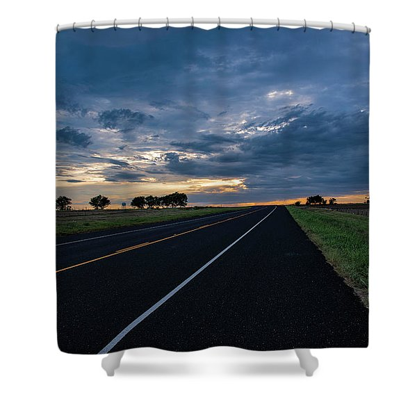 Lone Highway At Sunset Shower Curtain