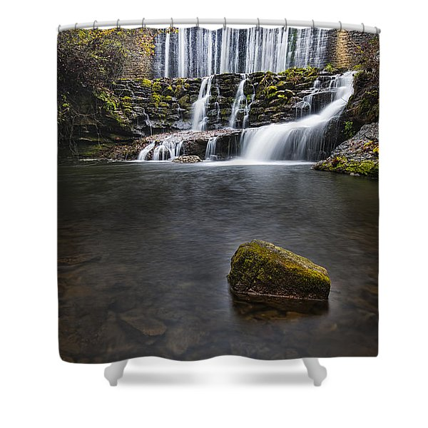 Lone Rock At The Falls Shower Curtain