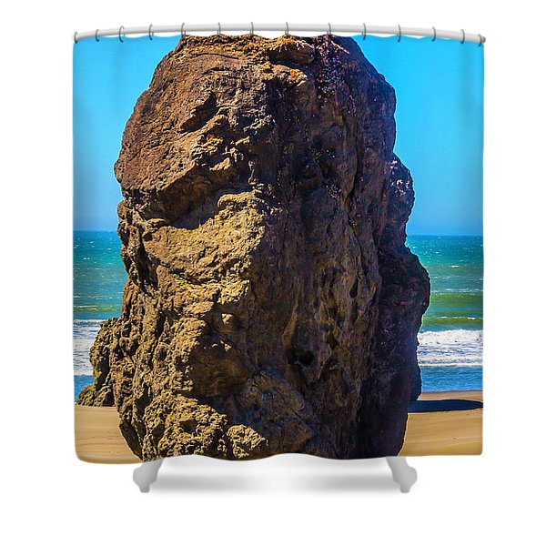 Lone Rock Oregon Beach Shower Curtain