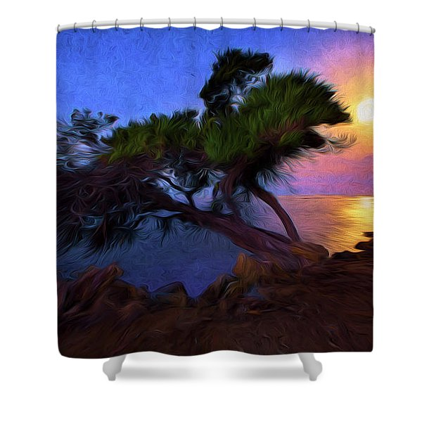 Lone Tree On Pacific Coast Highway At Moonset Shower Curtain