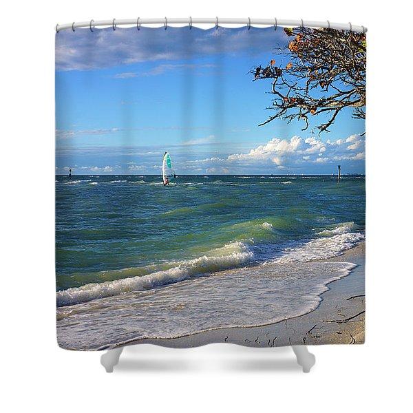 Lone Windsurfer At Wiggins Pass Shower Curtain