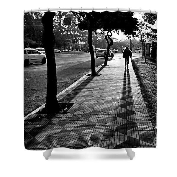 Lonely Man Walking At Dusk In Sao Paulo Shower Curtain