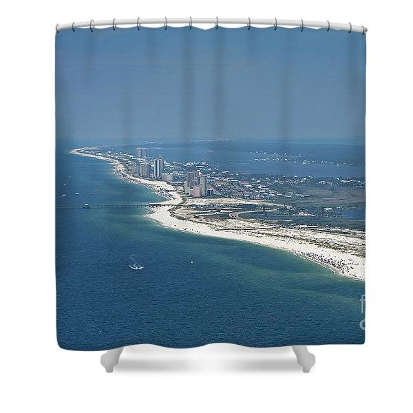Long, Aerial, Beach View Shower Curtain