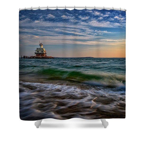 Long Beach Bar Lighthouse Shower Curtain