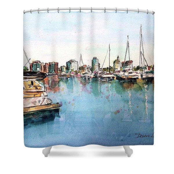 Long Beach Coastal View Shower Curtain