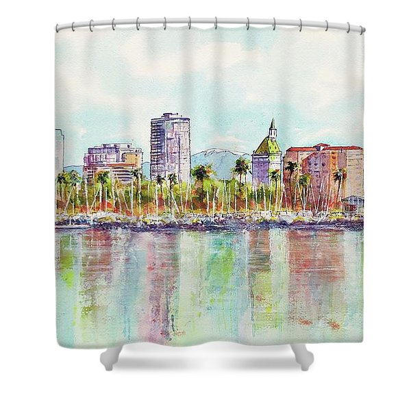 Long Beach Coastline Reflections Shower Curtain