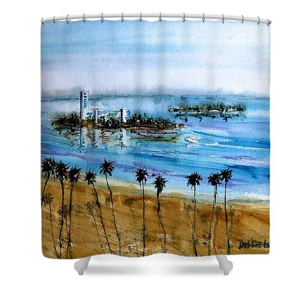 Long Beach Oil Islands Before Sunset Shower Curtain
