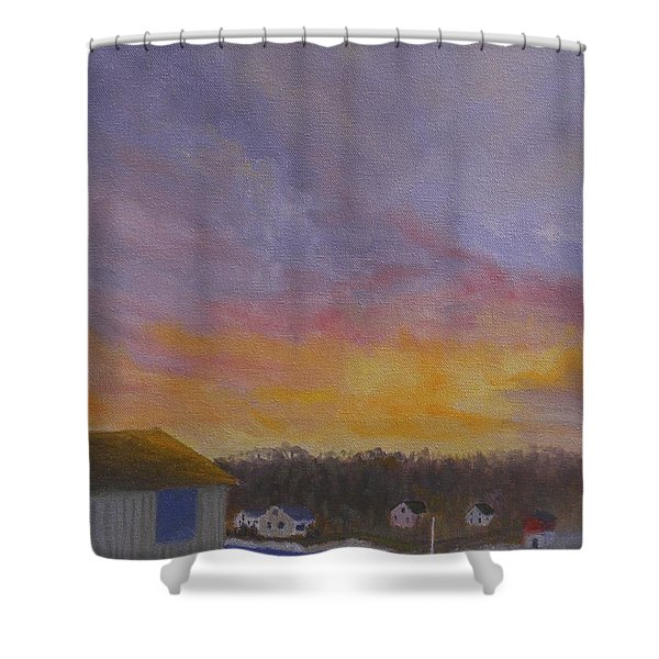 Long Cove Sunrise Shower Curtain