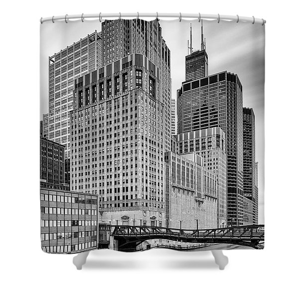 Long Exposure Image Of Chicago River Civic Opera House And Top Of The Willis Tower - Illinois Shower Curtain