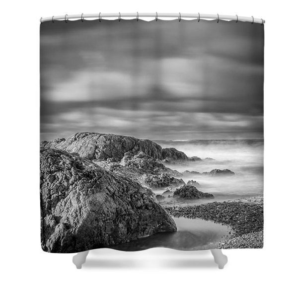 Long Exposure Of A Shingle Beach And Rocks Shower Curtain