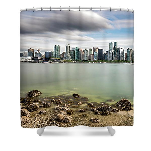 Long Exposure Of Vancouver City Shower Curtain