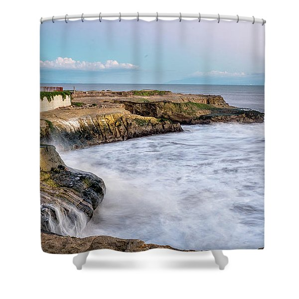 Long Exposure Of Waves Against The Cliff With Lighthouse In Shot Shower Curtain