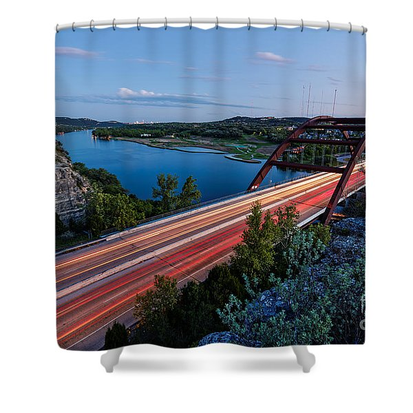 Long Exposure View Of Pennybacker Bridge Over Lake Austin At Twilight - Austin Texas Hill Country Shower Curtain