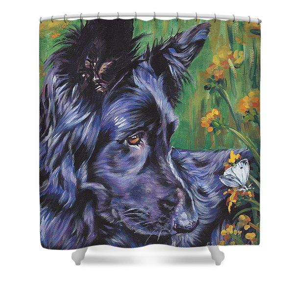 Long Hair Black German Shepherd Shower Curtain