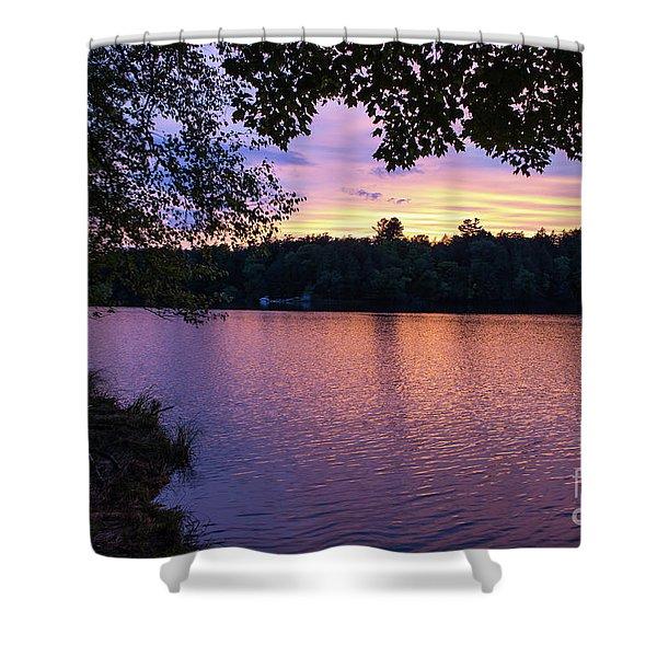 Long Lake Sunset 1 Shower Curtain