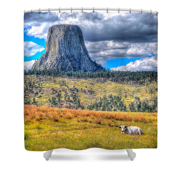 Longhorn At Devils Tower Shower Curtain