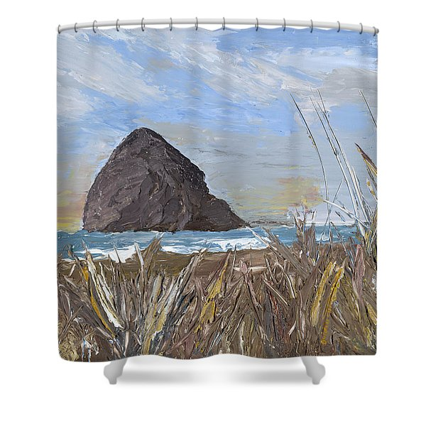 Longing For The Sounds Of Haystack Rock Shower Curtain
