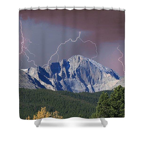 Longs Peak Lightning Storm Fine Art Photography Print Shower Curtain
