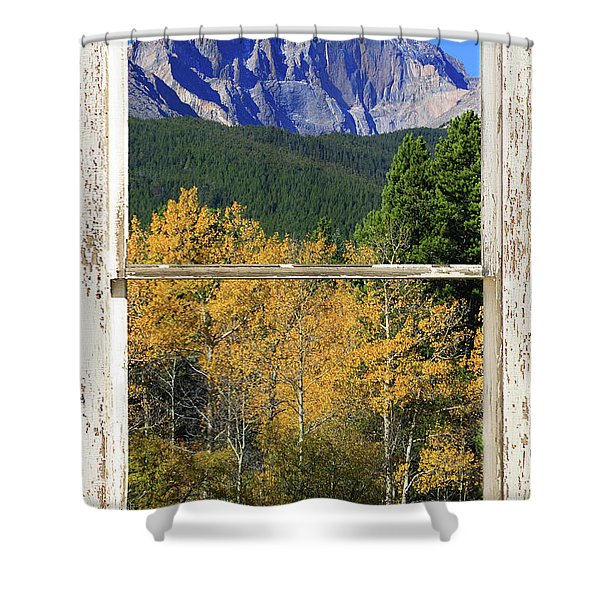Longs Peak Window View Shower Curtain