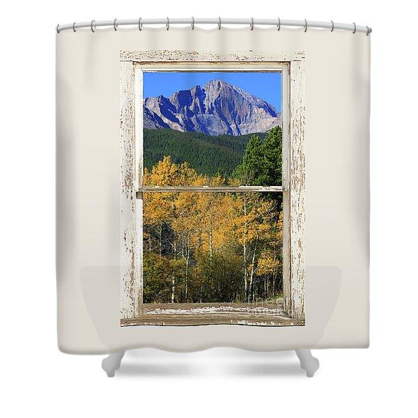 Longs Peak Window View Shower Curtain