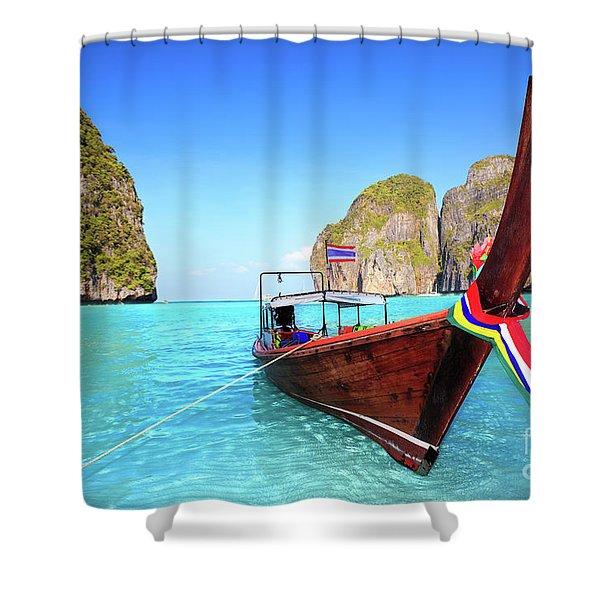 Longtail Boat At Maya Bay Shower Curtain