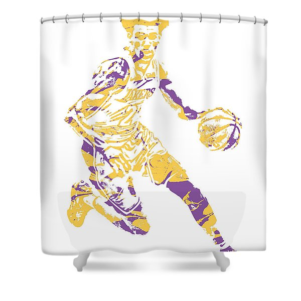 Lonzo Ball Los Angeles Lakers Pixel Art 1 Shower Curtain
