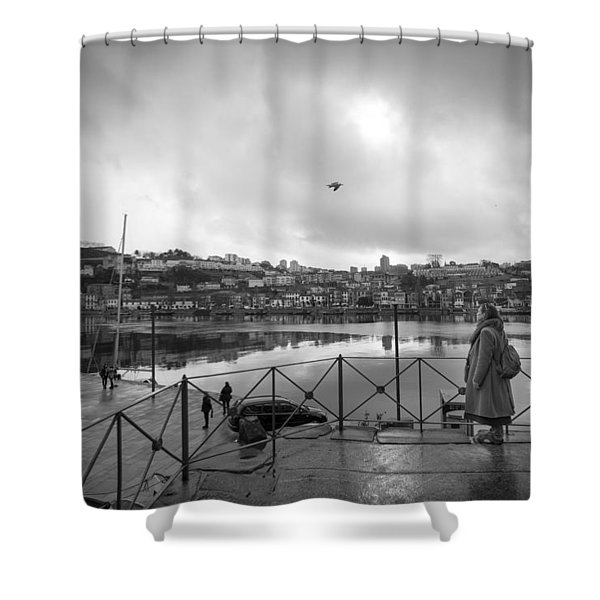 Looking And Passing By Shower Curtain
