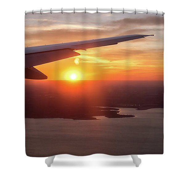 Looking At Sunset From Airplane Window With Lake In The Backgrou Shower Curtain