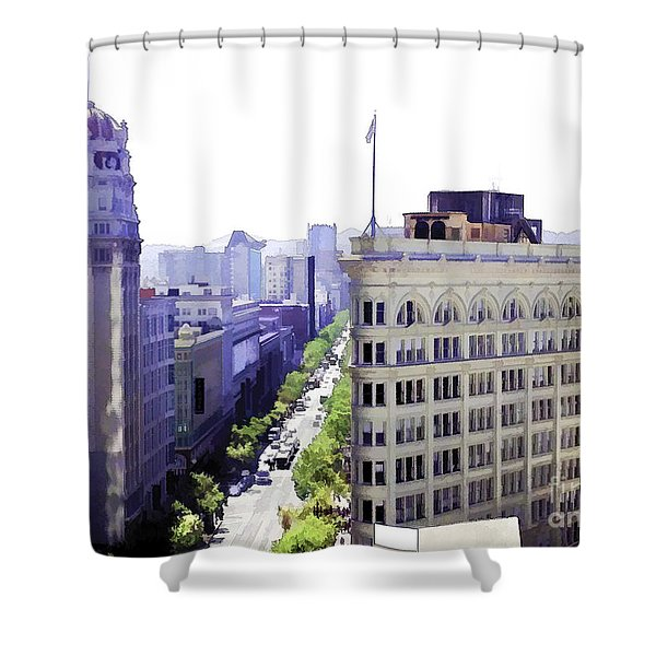 Looking Down Market Shower Curtain
