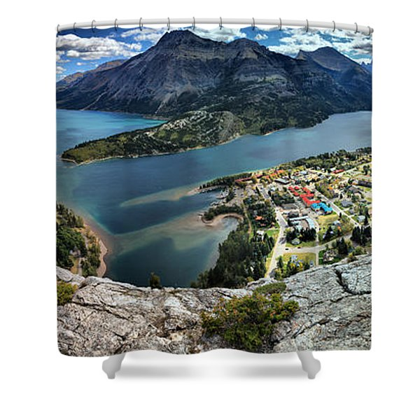 Looking Down On Waterton Lakes Shower Curtain