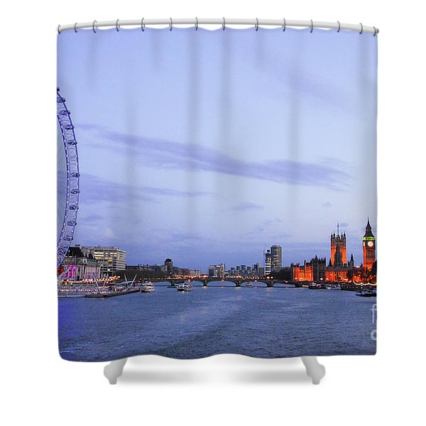 Looking Down The Thames Shower Curtain