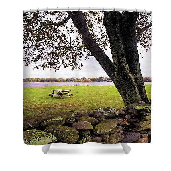 Shower Curtain featuring the photograph Looking Over The Wall by Nancy De Flon