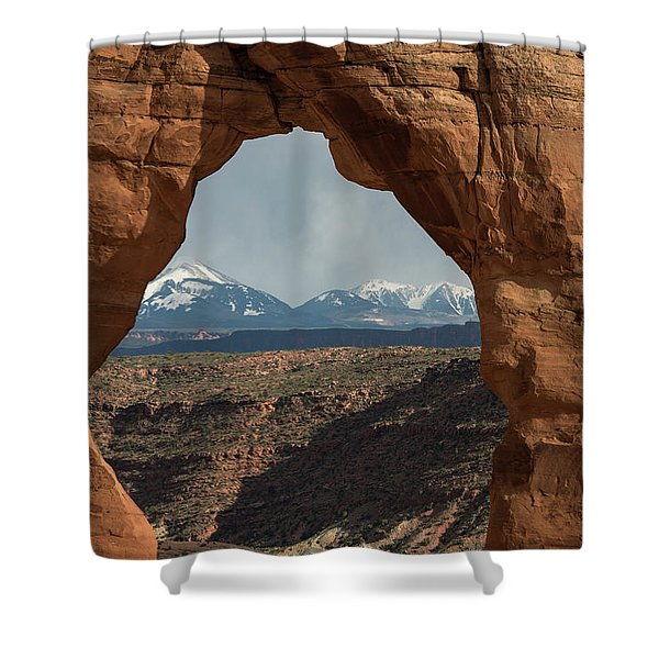 Looking Through Delicate Arch Shower Curtain