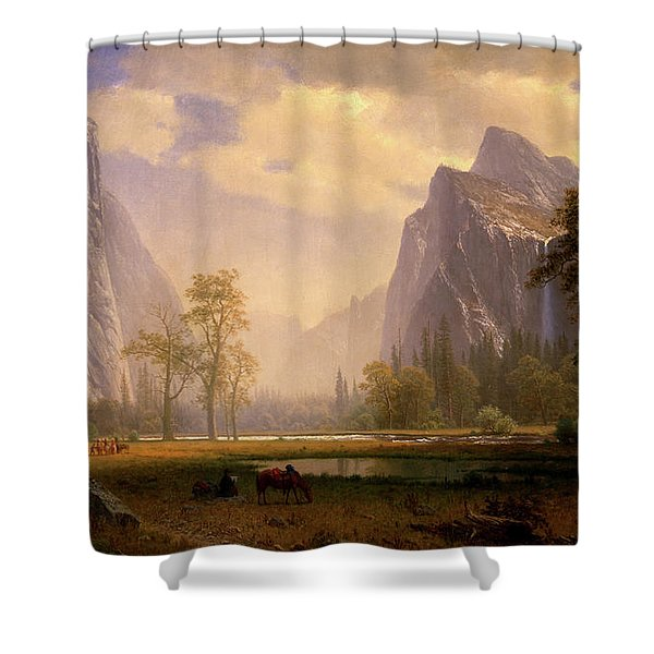 Looking Up The Yosemite Valley  Shower Curtain